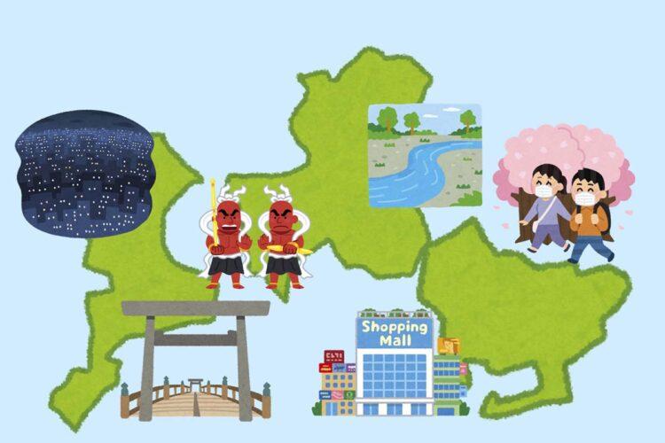 東海三県地図